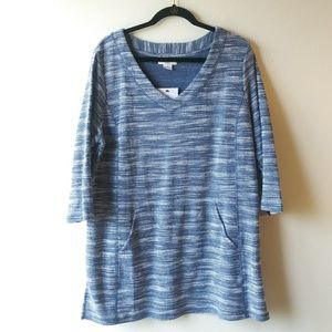 Liz Claiborne Weekend Travel Shirt - Blue & White